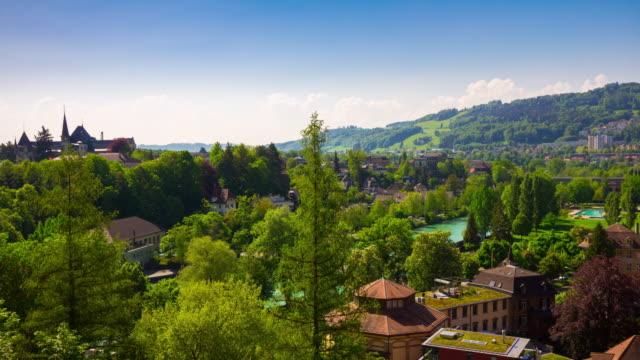 journée ensoleillée de Suisse Berne cityscape panorama 4k timelapse - Vidéo