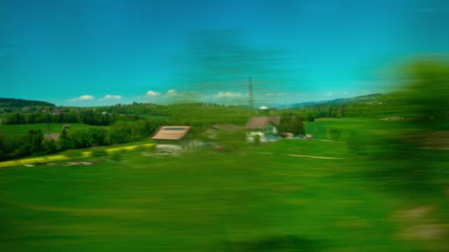 Suisse journée ensoleillée train trafic pov panorama 4k timelapse - Vidéo