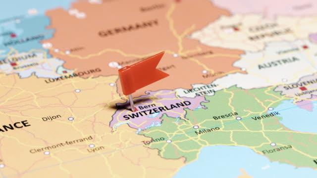 Switzerland with pin