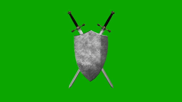 swords and shield forming a symbol on a green screen background - sword стоковые видео и кадры b-roll