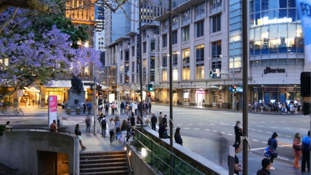 Sydney Australia Queen victoria building and Town Hall street scene video