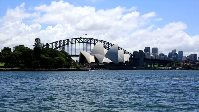 Sydney Cityscape with Opera House and Harbour Bridge Daytime video