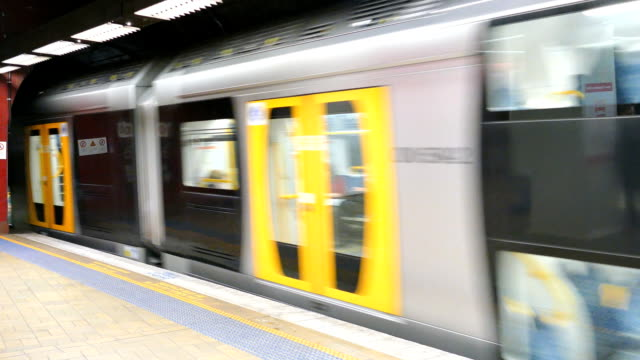 Sydney Commuter Train Leaving Platform, Australia Sydney suburban commuter train leaving city platform. railroad station platform stock videos & royalty-free footage