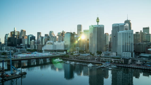 Sydney Darling Harbour Cityscape Sunrise Australia Time Lapse 4K Video