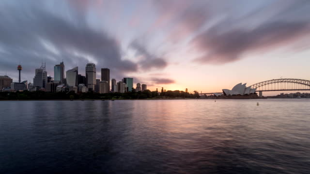 Sydney Harbor and city skyline sunset time lapse video
