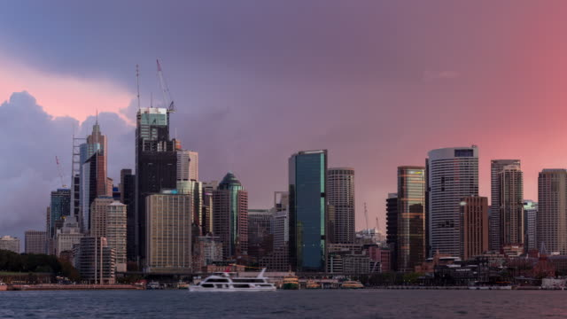 Sydney Harbour Storm Passing Over The City Time Lapse
