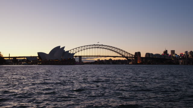 Sydney Opera House and Harbour bridge dusk hyperlapse video