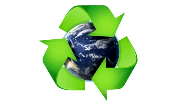 RECYCLE Symbol and Earth, Nature Concept in Book's Pages, with Blue Screen, Loop