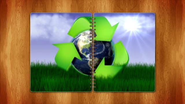 Recycling-Symbol und der Erde, der Natur-Konzept in der Buchseiten mit Bluescreen, Schleife – Video