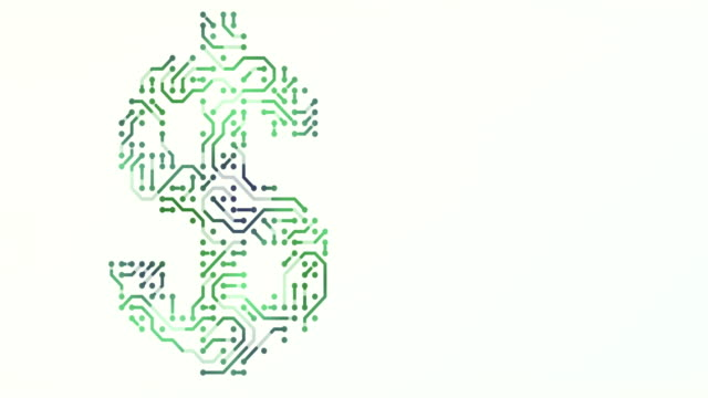 Symbol of dolar - circuit board and binary code loop animation background