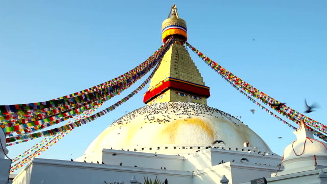 Symbol of Nepal, Buddha's Eyes (stupa Boudhanath) in Kathmandu video