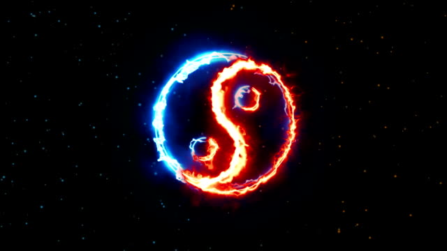 Symbol of yin and yang of the dark background Symbol of yin and yang of the dark background, the sign of the two elements yin yang symbol stock videos & royalty-free footage