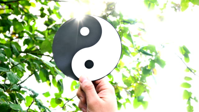 symbol des yin yang mit sunbeam - meditation icon stock-videos und b-roll-filmmaterial