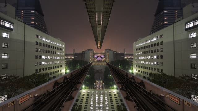 Symmetric & Absrtract ride through future city An abstract time lapse through a future city scape.  Shot in tokyo. railroad station platform stock videos & royalty-free footage