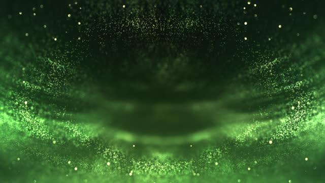 vídeos de stock, filmes e b-roll de fundo simétrico das partículas (verde)-laço - preservação ambiental