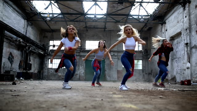 Synchronized break dancers performing together video
