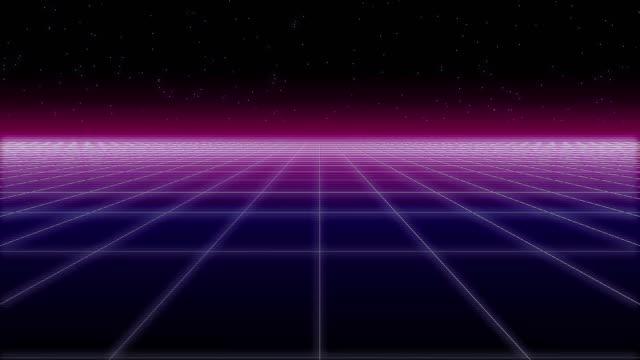 vidéos et rushes de filet synthwave et étoiles glitch retro 3d rendre - synthétiseur