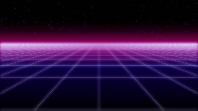 synthwave net and stars Retro Background 3d render