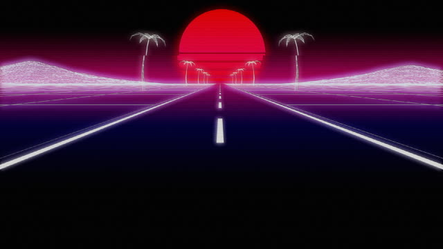 synthwave palms road 80 retro background 3d render - neon video stock e b–roll