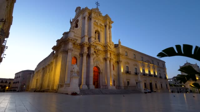 Syracuse Piazza Duomo square at dawn. Sicily, Italy. Gimbal stabilized tracking shot