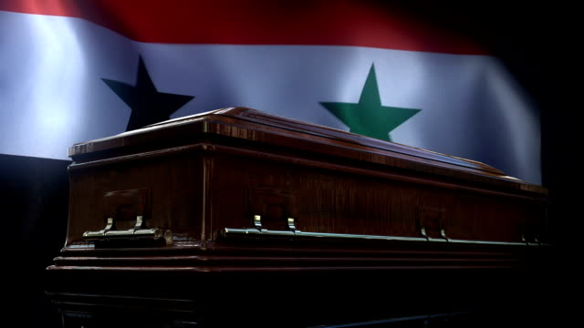 Syria Flag Behind Coffin Full HD, 29.97P, Slow Motion damascus stock videos & royalty-free footage