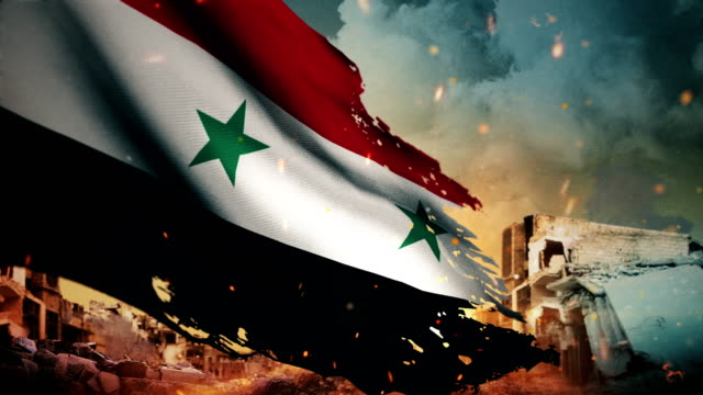 4K Syria Flag - Crisis / War / Fire (Loop) Sparks, Exploding, Smoke - Physical Structure, Syria War syria stock videos & royalty-free footage