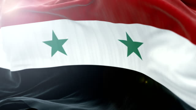 syria flag slow waving background. 4k close up flag waving. seamless loop - politica e governo video stock e b–roll