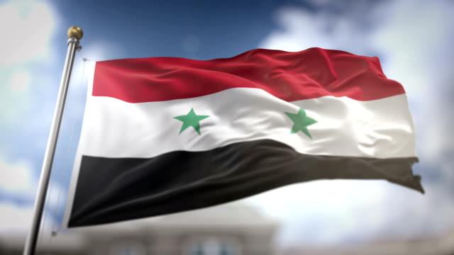 Syria Flag Waving Slow Motion 3D Rendering Blue Sky Background - Seamless Loop 4K Syria Flag Waving Slow Motion 3D Rendering Blue Sky Background - Seamless Loop 4K damascus stock videos & royalty-free footage