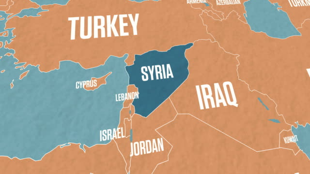 Syria Map on World Map Syria Map on World Map syria stock videos & royalty-free footage