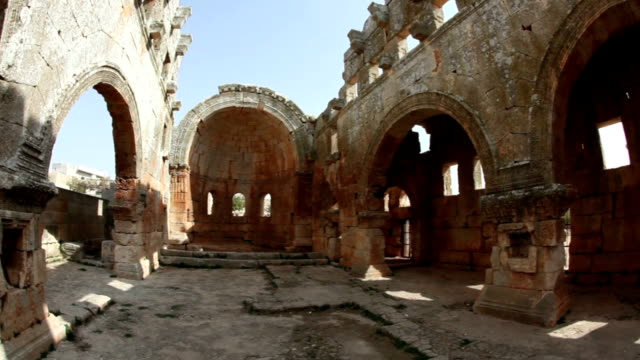 Syria - The Dead Cities, Qalb Lozeh This is one of the best preserved Syrian - Byzantine ecclesiastical building (5th century). Three-nave cathedral. Fish eye shot. wide angle stock videos & royalty-free footage