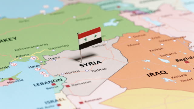Syria with National Flag tracking to Syria with National Flag syria stock videos & royalty-free footage