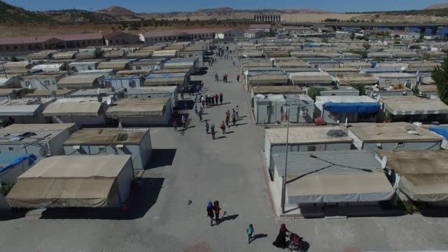 Syrian refugee camp in Gaziantep, Turkey 11/16/2017 General drone images from syrian refugees camp near the dam. Gaziantep/TURKEY 11/16/2017 eastern europe stock videos & royalty-free footage