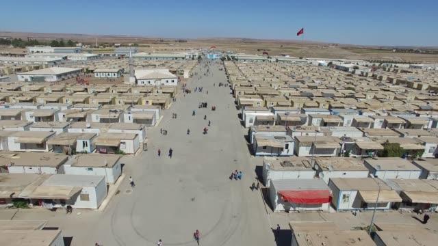 Syrian refugees camp in Kilis,Turkey 29.05.2018 Aerial shot of syrian refugees camp in Kilis,Turkey 29.05.2018 syria stock videos & royalty-free footage