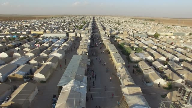 Syrian refugees camp in Sanliurfa, Turkey. Aerial shot of  syrian refugees camp in Sanliurfa, Turkey. syria stock videos & royalty-free footage