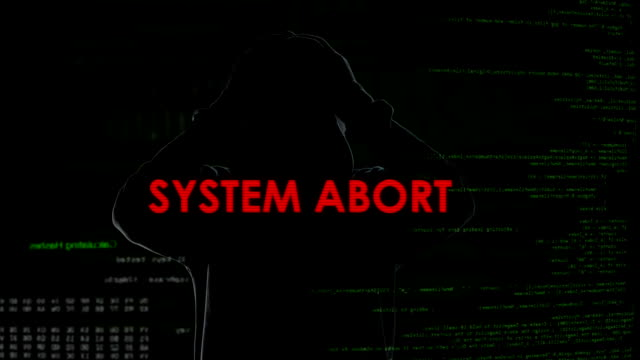 System abort warning message on screen, unsuccessful hacking attempt on server video