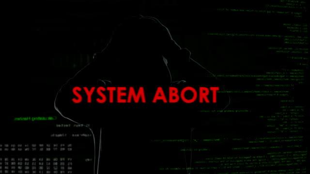 System Abbruch Warnmeldung auf dem Bildschirm, erfolglosen Versuch auf Server hacken – Video