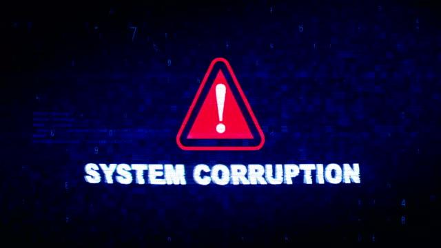 vídeos de stock e filmes b-roll de system corruption text digital noise twitch glitch distortion effect error loop animation. - corruption