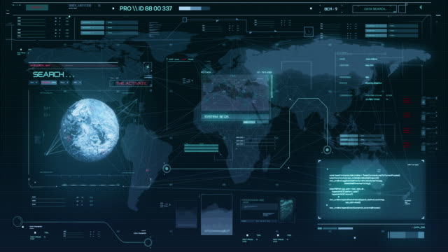 system for detecting unknown planets and cosmic objects. hud the planet digital data cyber technology background - treedeo stock videos & royalty-free footage
