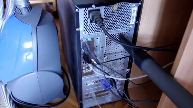 System unit vacuum cleaner sucks dust ventilation holes video