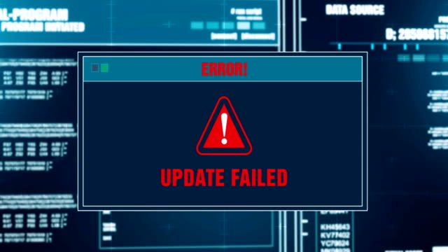 system updating progress warning message update failed alert on computer screen entering system login and password. system security, cyber crime, computer hacking concept - повторный запуск стоковые видео и кадры b-roll