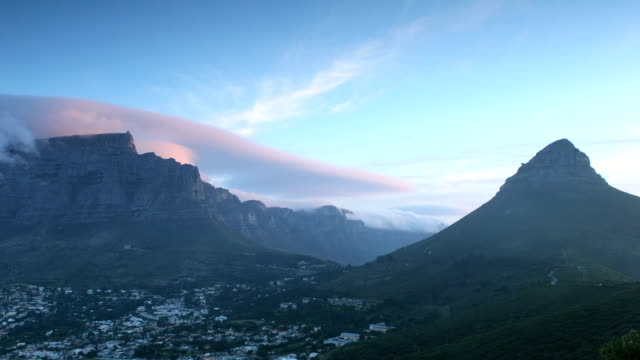 Tabe Mountain and Twelve Apostles Time lapse of clouds rolling over Table Mountain and the Twelve Apostles at dusk.  table mountain national park stock videos & royalty-free footage