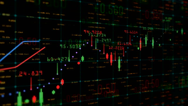 table and bar graph of stock chart exchange market indices animation background - candeliere video stock e b–roll
