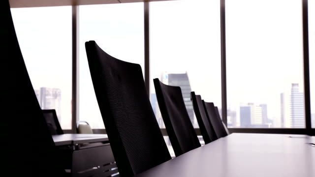 Table and chairs. Table and chairs in meeting room. board room stock videos & royalty-free footage
