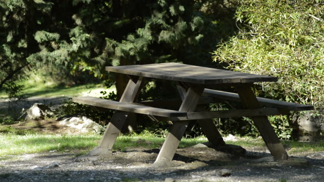 Table and wooden benches in the mountain