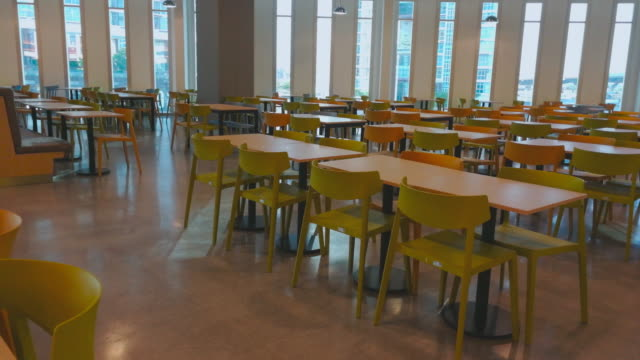 Table In Office Building Panning Shot By Smart Phone Video of many table in office building panning shot by smart phone. Cafeteria 4K cafeteria stock videos & royalty-free footage