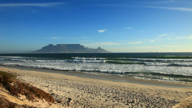 Table mountain in Cape town view from the beach  table mountain national park stock videos & royalty-free footage