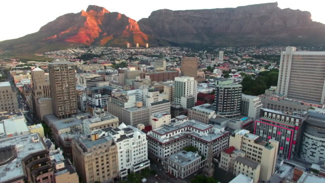 Table Mountain sunset Aerial drone footage of Cape Town, South Africa table mountain national park stock videos & royalty-free footage