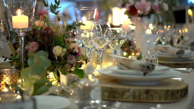Table party decoration Table party decoration for wedding celebrations or holidays wedding stock videos & royalty-free footage