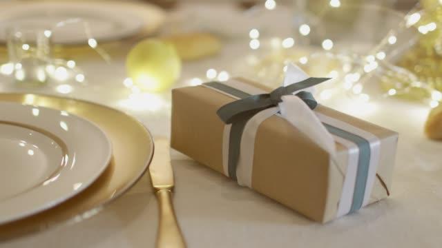 table set for christmas - christmas table video stock e b–roll