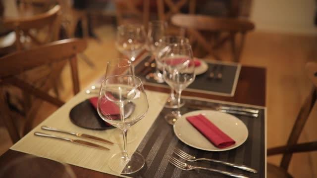 Table set for dinner in restaurant